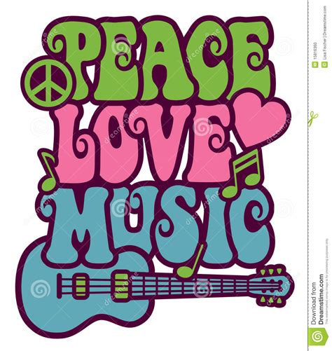 peace love music stock vector image of green colorful
