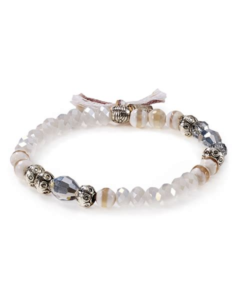 stretch beaded bracelets chan luu beaded stretch bracelet in white white mix lyst