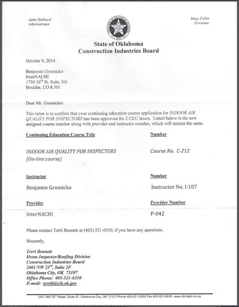 quality certification letter how to become a certified home inspector in oklahoma