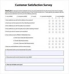 Customer Service Survey Questions Template by Customer Satisfaction Survey Template 9 Free Sles