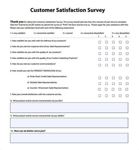 Customer Satisfaction Survey Template 9 Free Sles Exles Format Customer Service Employee Evaluation Template