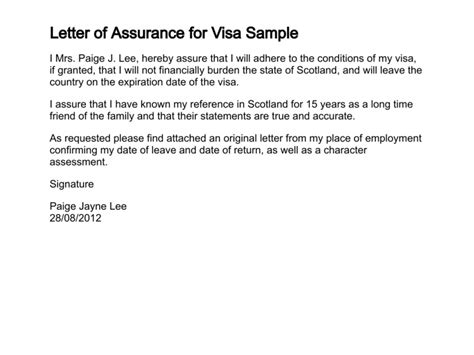 Guarantee Letter For Visa Letter Of Assurance