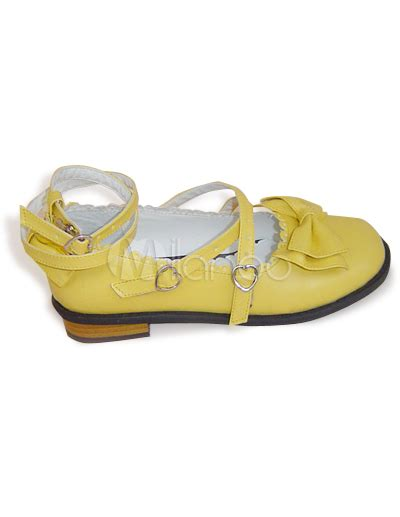 Etro Yellow Bow Flats by Flat Yellow Bow Crisscross Ankle Straps Pu Shoes