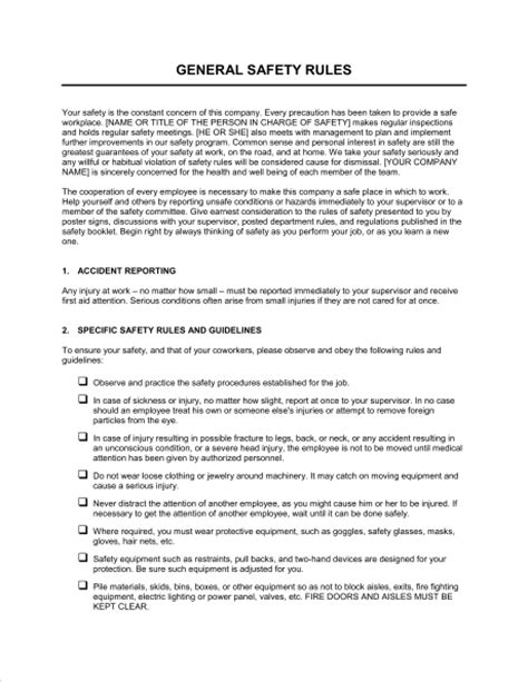 general safety rules template sle form biztree com