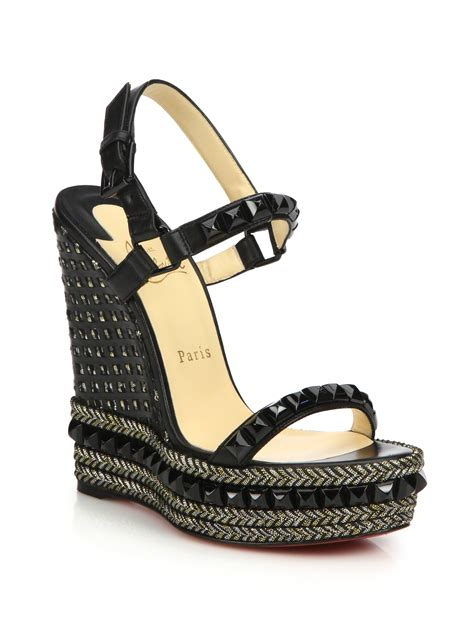 Loubotin Wedges Black 1 christian louboutin cataclou studded leather espadrille wedge sandals in black lyst