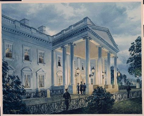 Painting Of President Lincoln Under The North Portico White House Historical Association
