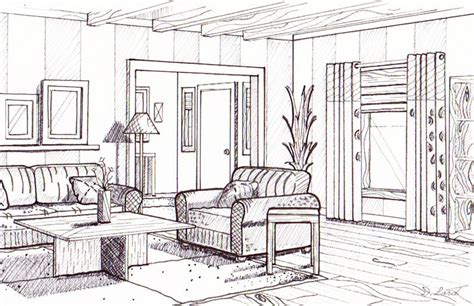Living Room Drawing Room Dyan Lord Smith Interior Design Phase 2 Line Drawing