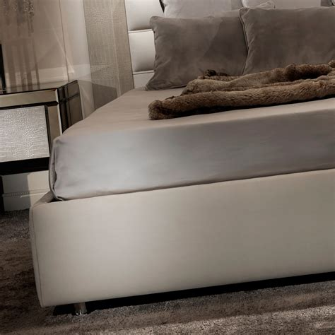 italian bed contemporary alligator embossed pattern leather italian bed