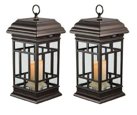 2 pc solar led candle light patio lanterns 8 hours of run