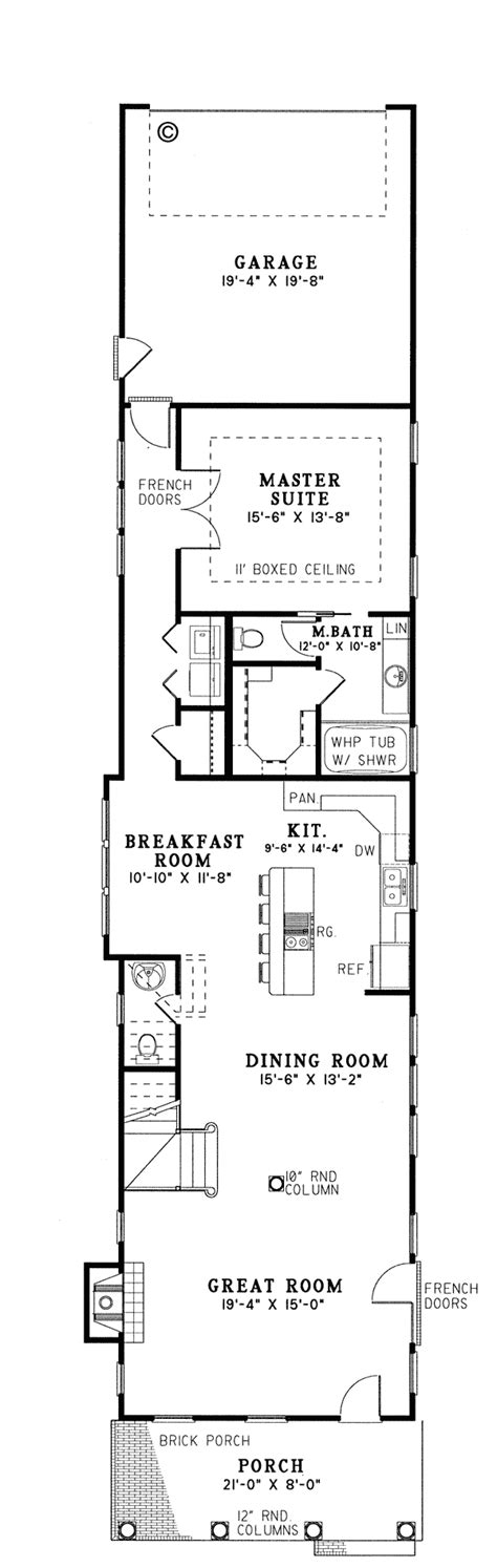 house plans for narrow lots with garage first floor plan of colonial narrow lot southern vacation
