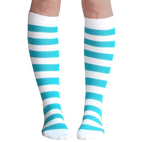 Striped Knee High Socks striped white teal knee high socks