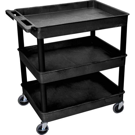 Three Shelf Cart by Luxor 32 X 24 Quot Three Shelf Utility Cart Black Tc111 B B H