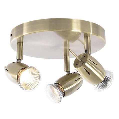 Frank 3 Light Ceiling Spotlight Plate   Antique Brass From