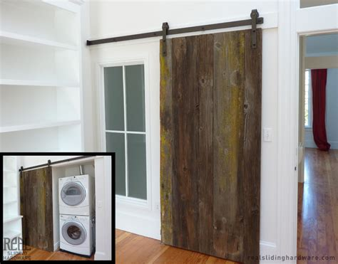Barn Door Laundry Room Custom Rustic Plank Barn Doors Traditional Laundry Room Other Metro By Real Sliding Hardware