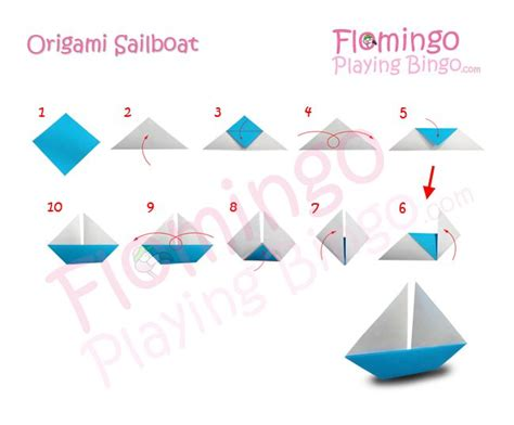 Origami Sailboats - origami boat one dimensional glue to construction paper