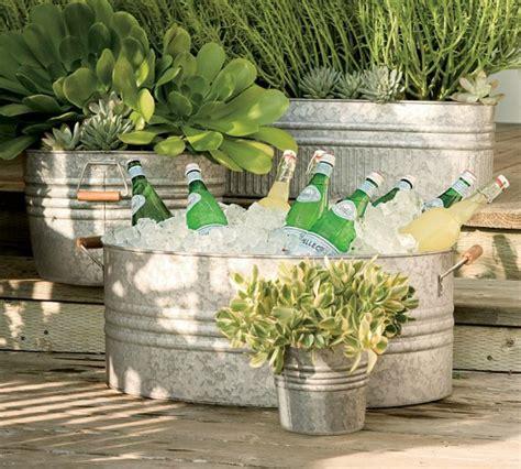 galvanized tub planter galvanized metal tubs buckets pails as planters
