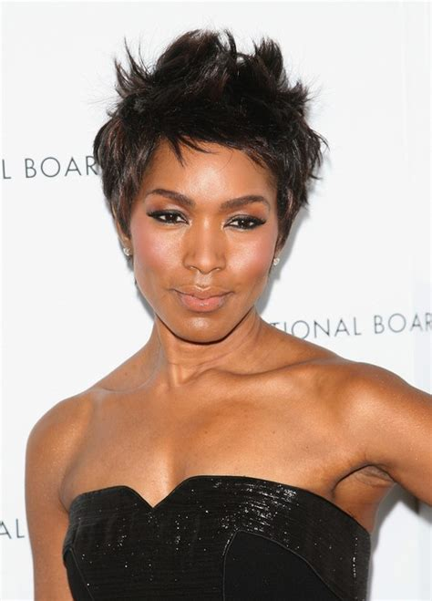 pixie haircuts for black women over 50 angela bassett short spiked pixie haircut for black women