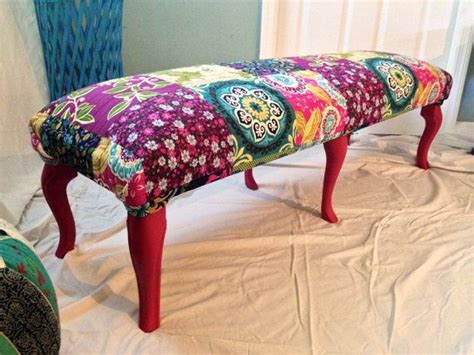 bohemian bench great bohemian patterned bench custom chalk painted legs on etsy 100 00 furniture