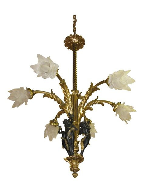 Antique French Bronze Chandelier With Black Cherub Chairish Antique Cherub Chandelier