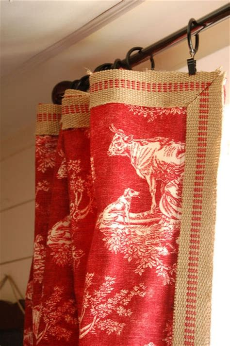 red burlap curtains burlap webbing red stripe as trim on curtains now here