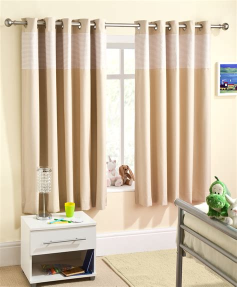 Curtains For Nursery Childrens Gingham Curtain Thermal Blockout Eyelet Ring Top Curtains Nursery Ebay