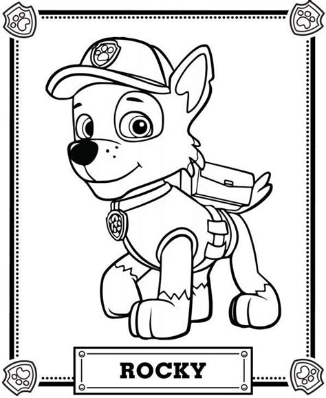paw patrol coloring pages rocky coloring pack