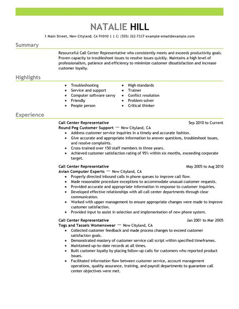 exle of professional resumes professional resume sles choose call center