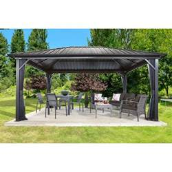 Metal Roof Gazebo Canada by Sojag Genova 16 Ft W X 12 Ft D Metal Permanent Gazebo