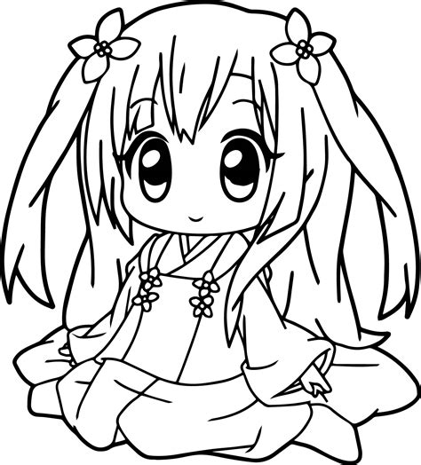 kawaii anime coloring pages very cute anime girl coloring page wecoloringpage