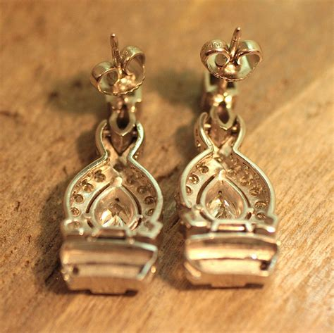 Pippin Vintage Jewelry by Circa 1940 1950 Platinum Earrings Pippin Vintage