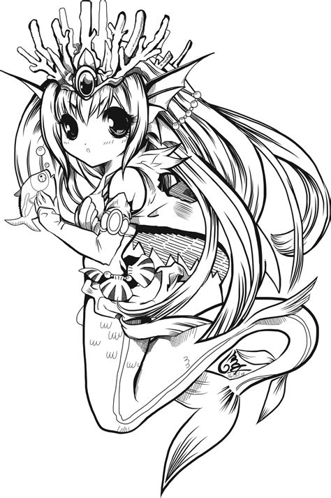coloring pages anime mermaids anime coloring pages to print freecoloring4u com