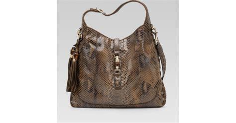 Tas Saling Bags Wanita Gucii Jacky 1 gucci new jackie smog python shoulder bag in brown lyst
