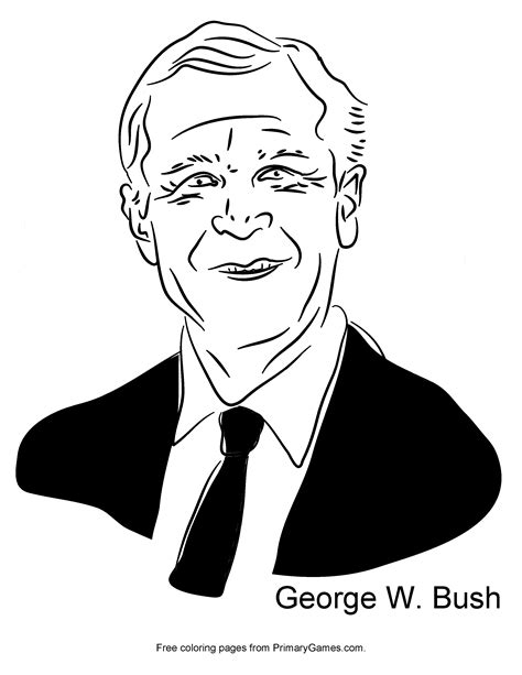 George W Bush Coloring Page by Presidents Day Coloring Page George W Bush