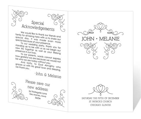wedding program template printable instant download