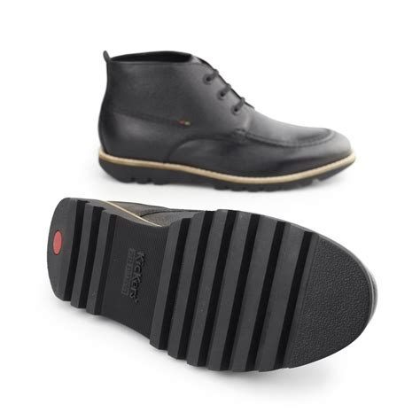 Kickers Tiranosaurus Casual Black Leather kickers kymbo mocc mens leather lace up casual comfy classic moccasin toe boots ebay