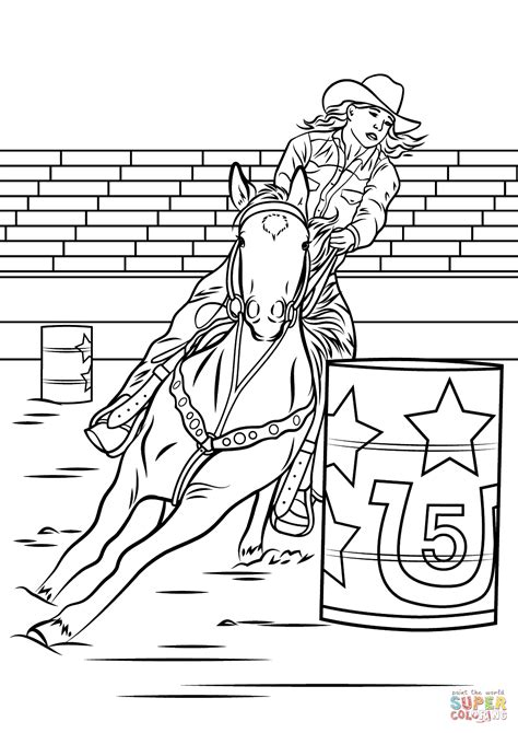Coloring Pages Of Horses Barrel Racing | horse barrel racing coloring page free printable