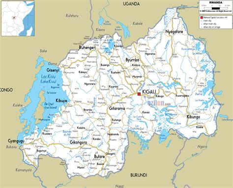 rwanda map road map of rwanda ezilon maps
