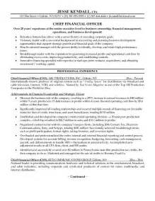 Cfo Resume Templates by Exle Chief Financial Officer Resume Free Sle