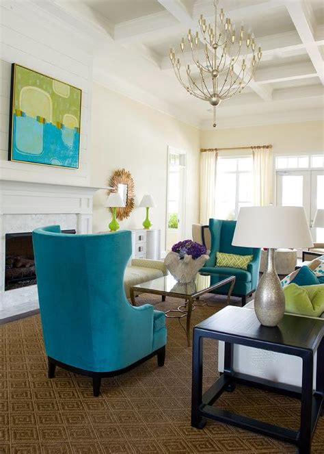 Turquoise Wingback Chairs Transitional Living Room Turquoise Living Room Chair