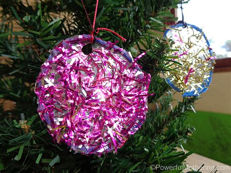 kid made sparkly tinsel christmas ornamanets