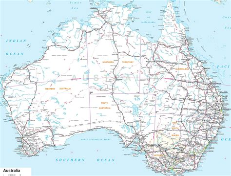 large printable road maps large detailed road map of australia with all cities