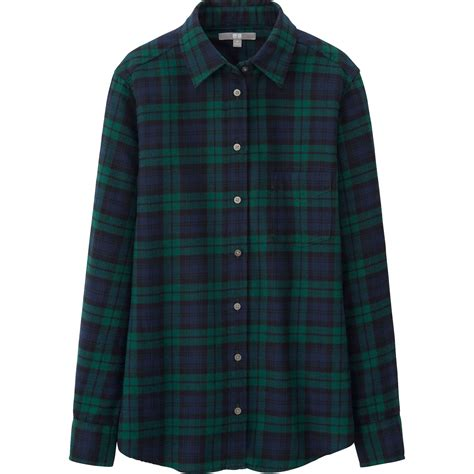 Flannel Uniqlo 11 uniqlo flannel check sleeve shirt in green for blue lyst