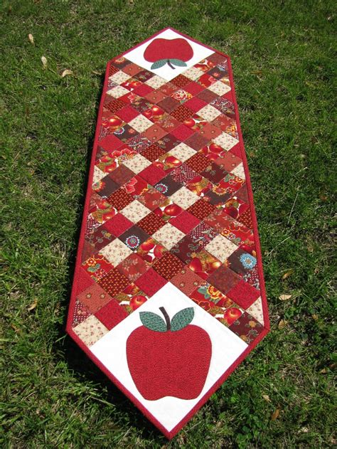 Patchwork Table Runner - apple patchwork quilted table runner