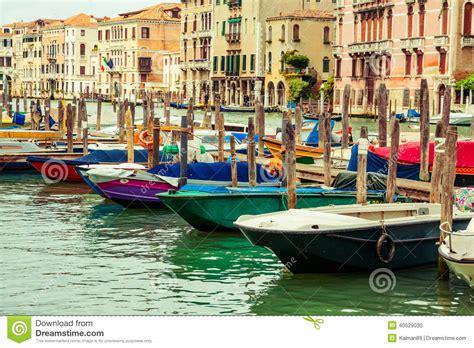 boats in venice row of boats in venice italy stock photo image 40529030