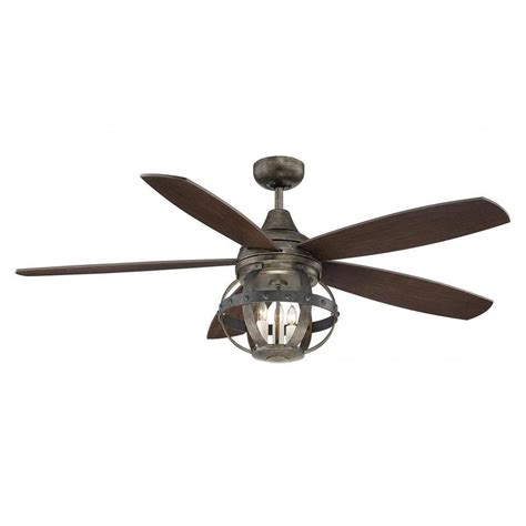 Wood Ceiling Fans With Lights Illumine Aumbrie 52 In Reclaimed Wood Indoor Outdoor Ceiling Fan Cli Sh0243967 The Home Depot