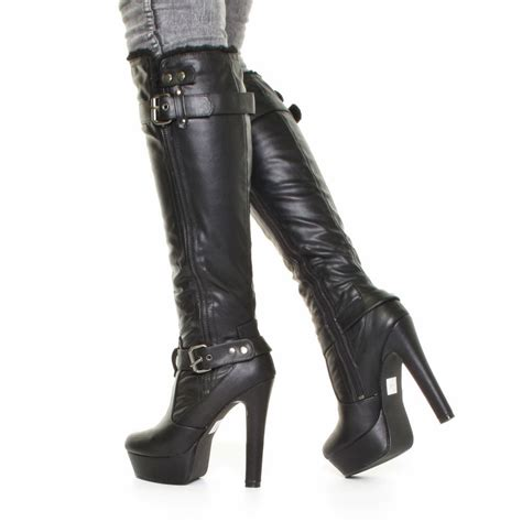 womens biker boots with heels womens rock chic platform high heel biker