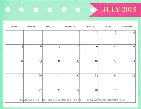 printable schedule july 2015 8 lovely july 2015 calendars