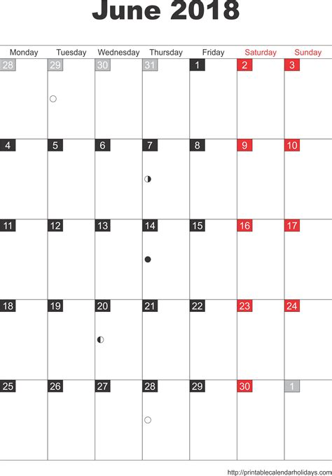 printable monthly calendar pdf june 2018 calendar pdf 2018 calendar with holidays