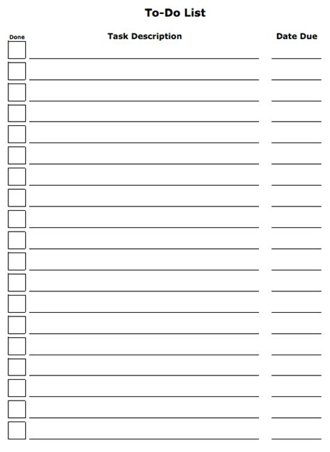 6 To Do List Templates Excel Pdf Formats To Do List Template