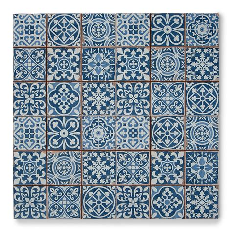 White And Grey Bathroom Tapestry Blue Patterned Tiles Porcelain Superstore